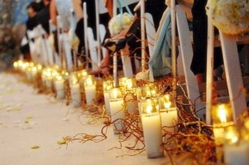 Wedding aisle candles